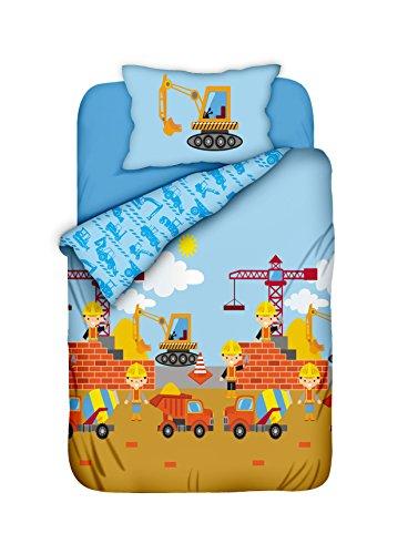 Aminata Kids - Baby-Bettwäsche-Set 100-x-135-cm - Bagger-Motiv - Jungen - Wende-Kinder-Bettwäsche aus Baumwolle - hell-blau, bunt mit Marken-Reißverschluss & Öko-Tex (Kleiner Junge Bau Kostüm)