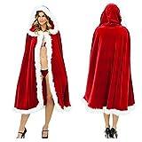 Rot Weihnachtskostüm Frauen Frau Weihnachtsmann Samt Kapuzen Umhang Cosplay (1M)