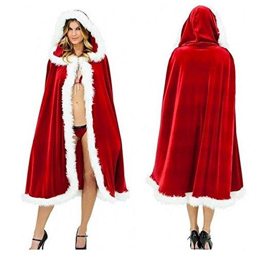 Rot Weihnachtskostüm Frauen Frau Weihnachtsmann Samt Kapuzen Umhang Cosplay (1.5M)
