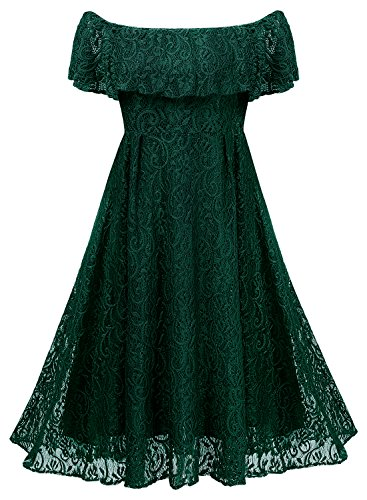 Krisophy Womens 1950's Vintage Floral Lace Retro Party Cocktail Formal Off Shoulder Swing Dresses (Green,Medium)