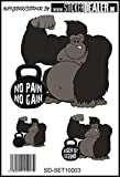 Unbekannt Aufkleber-Set Pain No Gain Bodybuilding Kraftsport Fitness Sticker Crossfit Gorilla Fun