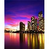 AOFOTO 6x7ft Photography Studio Backdrops Canadian City Building Lamplight Background Modern Urban Sunset Glow Nightscape Adult Travel Portrait Photo Shoot Props Video Drop Wallpaper Drape