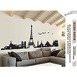 Zooarts I Love Paris Torre Eiffel Paisaje Mural extraíble pared vinilo adhesivo adhesivos