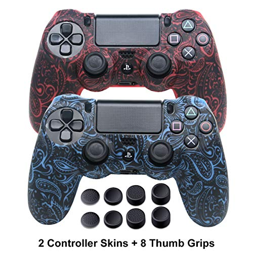 Silikon-Schutzhülle für PS4 Controller DualShock 4 Controller Anti-Rutsch-Schutzhüllen Set für Sony PS4 / PS4 Slim / PS4 Pro 2 / PS4 Controller Skins - 4 Paar PS4 Daumengriffe Leaf Red+Blue