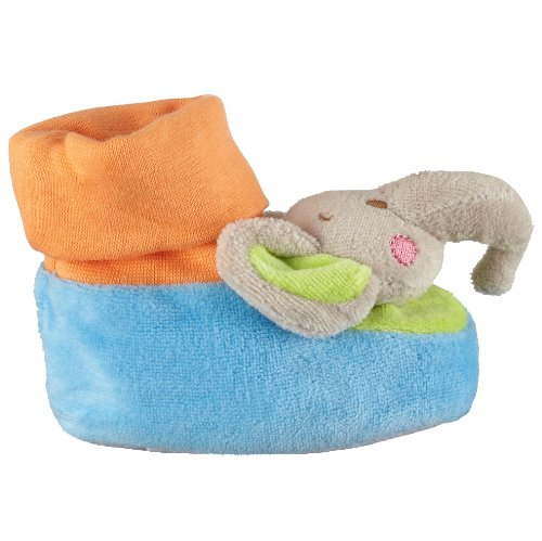 Playshoes Weiche Rasselschuhe Elefant mit Noppensohle, Unisex Baby Krabbelschuhe Blau (900 original)