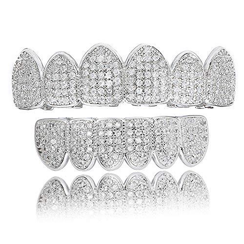 Denture Zähne Diamant Vergoldete Klammern Hip Hop Stil Obere Und Untere Kappe Dental Schmuck Kit (Gold Und Silber),Silver