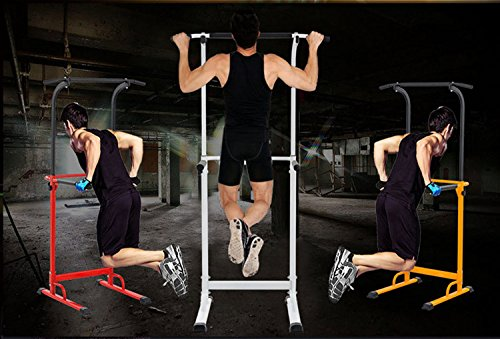 PullUp Fitness Barre de Traction Ajustable Station Musculation Dips Station Chaise Romaine (Rouge) 5