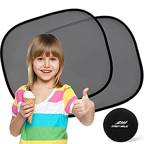 Car Sun Shade (2 Pack) - Universal Static Cling Sunshade for Baby - Protect Your Child or Pet from UV rays! Easy installation without suction cups - 100% Money Back