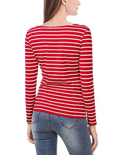 EA Selection Femme Tops a Manches Longues T-Shirt Basique a Rayures Rouge