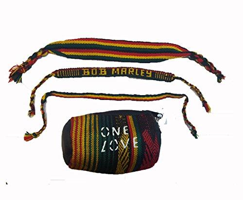 Medaille Keying 3Stück Rasta Bob Marley Tuch gewebt Armband Freundschaft Band Set