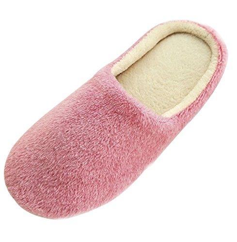 Minetom Herren Hausschuhe Warme Plüsch Hausschuhe Indoor Rutschfeste Slippers Cartoon Cat Pantoffeln Für Damen Pink EU 37