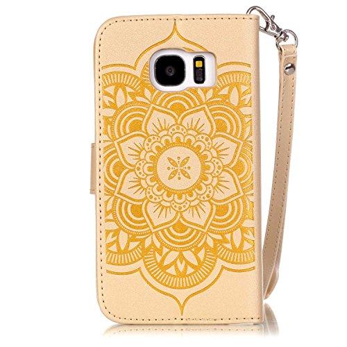 iPhone 7 4.7 Custodia (Con Gratuito HD Proteggi Schermo) CaseHome Cacciatore di sogni Mandala Fiore Sbalzato Progettazione stile del libro Foglio flip magnetico Chiusura Costruito In Stand Full Body Oro