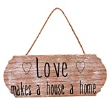 #9: Scrafts Wood Love Oval Shaped Wooden Wall Hanging/Art Poster. Size: LH(Inches) - 9.5X4, Brown