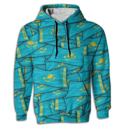 Kasachstan Flagge Welle Collage Kapuzenpulli Hoodies 3D Print Pullover mit großen Taschen Kordelzug für Männer,XL