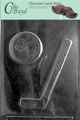 Cybrtrayd S064 Hockey Stick and Puck Chocolate Candy Mold with Exclusive Cybrtrayd Copyrighted Chocolate Molding Instructions by Mifgash, LLC, T/A CybrTrayd