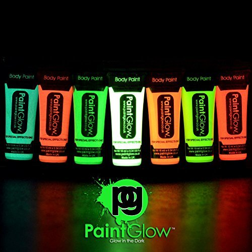 UV Neón BRILLO EN LA OSCURIDAD cara y cuerpo pinturas-7 x 10ml - Pintura Brilla en el oscuro
