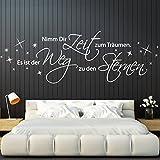 Wandora® W1324 Wandtattoo Zitat Nimm dir Zeit zum träumen. weiß (BxH) 160 x 47 cm