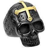 JewelryWe joyería motociclistas para hombre-anillo, acero inoxidable, Cruz gótico calaveras, colour negro y dorado