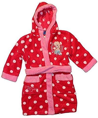 Disney Frozen Die Eiskönigin Bademantel Morgenmantel mit Kapuze (128, Rot)