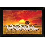SAF Seven Running Horses||vastu Painting For Home And Office||Seven Lucky Running Horses Painting || 7 Horses Painting ||seven Horses||vastu Horses||Shyam Art 'N' Frame Exclusive Framed Wall Art Paintings(Wood,35cmx 2Cmx 50Cm Framed Painting)
