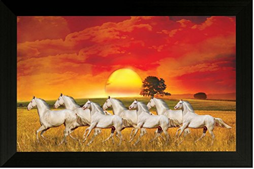 SAF Seven running horses || vastu painting for home and office.|| running horses painting || 7 horses painting || seven horses || vastu (35 x 50 x 3 cms framed painting)…