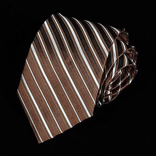 Wangwang454 Herren Business Kleid Professionelle Krawatte Klassische Gestreifte Business Hochzeit Krawatte 8 * 145 * 3,5 cm, Braune Streifen -