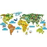 """Etiquetas engomadas de la educación para los niños - Mapa del mundo divertido y colorido, Geografía y ciencia animal """"El mundo aprende"""" la decoración de la etiqueta engomada de la pared del vinilo para los niños, las habitaciones de los niños, la sala de juegos, las escuelas"""