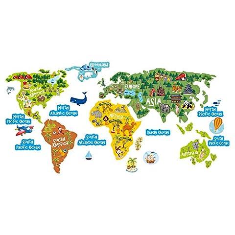 Stickers muraux éducatifs pour les enfants Decal - affiche de carte du monde drôle et coloré Géographie et zoologie- « le monde de savoir » décoration sticker mural en vinyle (200 cm. / 100 cm)
