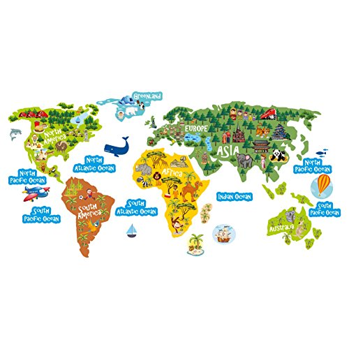 """Wandtattoo Bildung Aufkleber für Kinder – Lustiges und buntes Weltkarte-Poster Geographie & Tierkunde– """"die Welt kennenlernen"""" Vinyl Wandsticker Deko"""