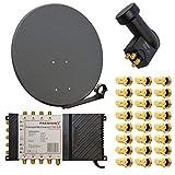 HD Digital Sat Anlage 80cm Schüssel Spiegel Antenne Stahl Anthrazit + PremiumX Multischalter 5/8 Multiswitch Matrix 5-8 mit N