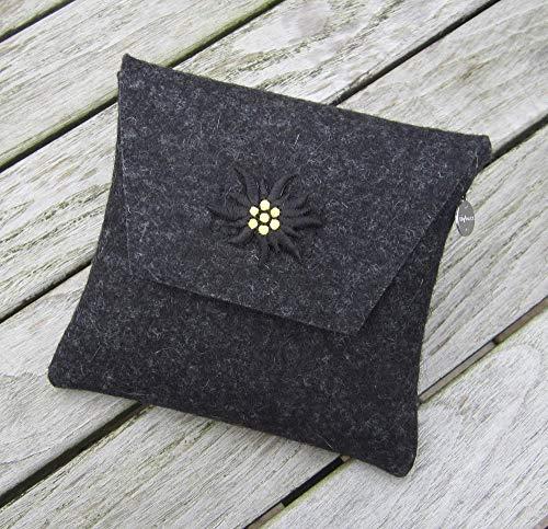 zigbaxx Dirndl-Bag Edelweiß 2 / Trachtentasche, Gürteltasche, Bauchtasche, Dirndl-Wiesn-Tasche aus Woll-Filz mit Edelweiss, grau schwarz beige braun- Geschenk Weihnachten Geburtstag