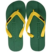 SEAC Unisex's Maui, Extra-Thick Anti-Slip Rubber, Flip Flops for Women and Men, Green/Yellow, 10-11UK