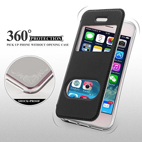 iPhone SE Hülle,iPhone 5S Hülle,iPhone 5 Hülle,Fyy® hochwertige umweltfreundliche KunstlederHülle (Tasche Schale Schutzhülle Case Cover Etui) Schwarz für Apple iPhone SE/5S/5 A-Schwarz