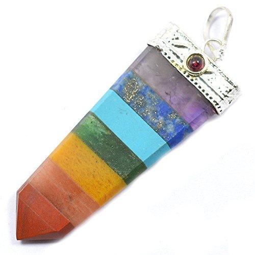 7 Chakra Bonded Stick Crystal Stone Pendant Healing Gemstone For Unisex