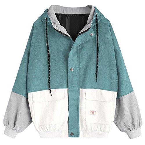 NPRADLA 2018 Herbst Winter Lose Damen Windbreaker Jacke Gefüttert Langarm Frauen Jacke Mantel Cord Patchwork Große Größen