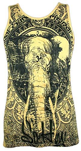 Sure Herren Tank Top - Om Ganesha Elefantengott Yoga Aum Yoga Buddha Yogi Zen Buddhismus Hinduismus Indien Ärmelfrei Männer Freizeit Kurzarm (Gelb M)