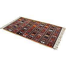 Homescapes Alfombra Kilim Algodón Color Negro y Marrón 70 x 120 cm