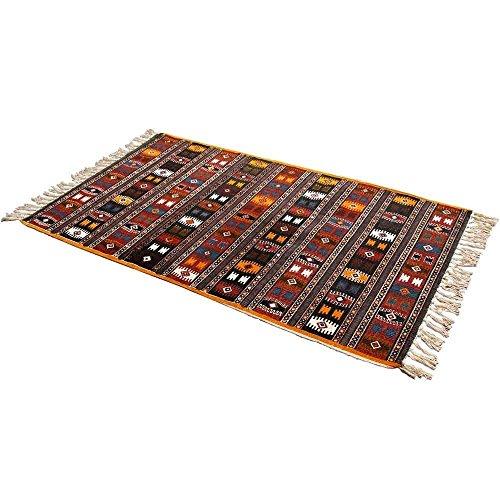 Homescapes Bedruckter Kelim Teppich Orient 60 x 90 cm Vorleger mit Fransen 100% Baumwolle