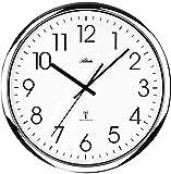 Atlanta 4377/19Radio-Controlled Wall Clock Arabic Number Screwed Case Glass Silver Chrome