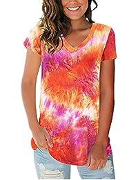 x8jdieu3 Summer Street Cuello De Pico Suelto Cuello Alto Estampado Tie-Dye Camiseta De Manga Corta Tops De Mujer