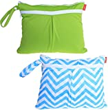 Damero 2pcs/pack Cute Travel Baby Wet and Dry Cloth Diaper Organiser Bag. Green+Blue Chevron