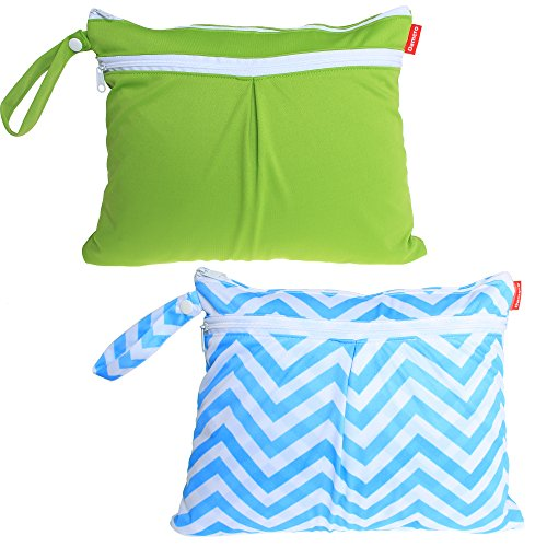 damero-2pcs-pack-cute-travel-baby-wet-and-dry-cloth-diaper-organiser-bag-green-blue-chevron