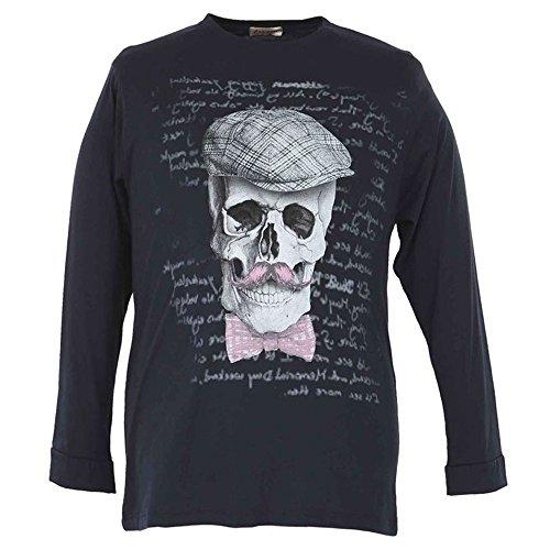 Maglia t-shirt taglie forti uomo Maxfort 24051 manica lunga - Blu scuro, 5XL