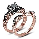 Moda Vorra 925 Plata 14 K chapado en oro rosa y negro CZ anillo de compromiso conjunto de la princesa de Disney Mulan