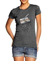 TWISTED ENVY Old School Music Women's Printed 100% Cotton T-Shirt, Crew Neck, Comfortable and Soft Classic Tee with Unique Design