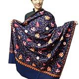 Varun Cloth House Women's Woollen Aari Zaal Full Work Kashmiri Shawl (Blue,Free Size)
