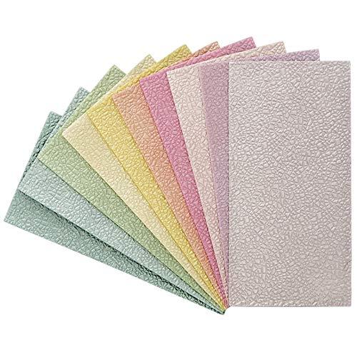 Struktur-Wachsplatten in Leder-Optik | ca. 20 x 10 cm | in Pastellfarben | 10 Stück