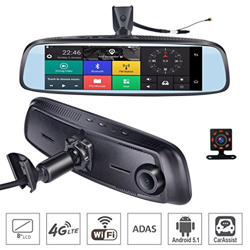 SZKJ K820 - Espejo retrovisor para salpicadero de Coche con GPS Bluetooth WiFi Android 5.1 FHD 1080P, 8 Pulgadas, 4...