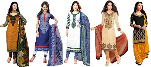 Market Magic World Women\'s Printed Unstitched Regular Wear Salwar Suit Dress Material (Combo pack of 5)(MMW_Combo_7133_3010_3013_3028_3023_3055)