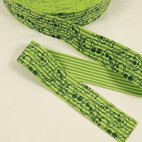 Stoffe Werning Gummiband Totenköpfe 4 cm breit limegrün -Preis Gilt für 1 m -